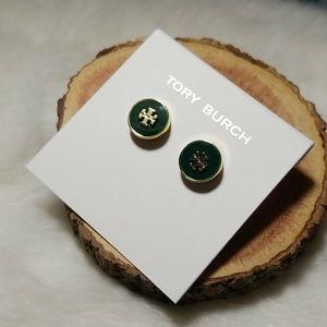 Tory Burch green enamel stud earrings